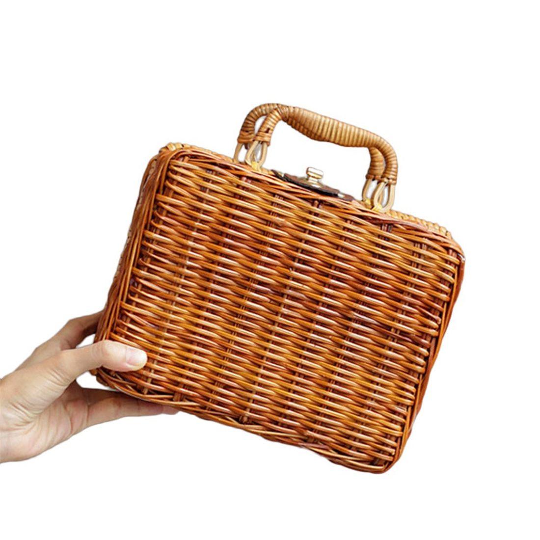 Женские сумки и кошельки Чистая рука г-жи кантон г-жи Куш китайская литература искусство винтажной корзины бамбука путешествия в сумке для хранения реквизит (Фото 2)