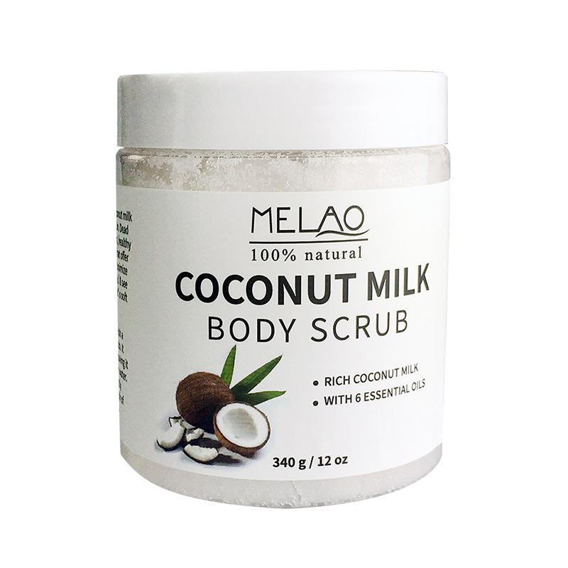 Здоровье и гигиена MELAO 340 г 100% Натуральное кокосовое молочко для тела с солью Мертвого моря, миндальным маслом и витамином Е (Фото 1)
