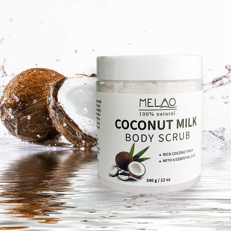 Здоровье и гигиена MELAO 340 г 100% Натуральное кокосовое молочко для тела с солью Мертвого моря, миндальным маслом и витамином Е (Фото 4)