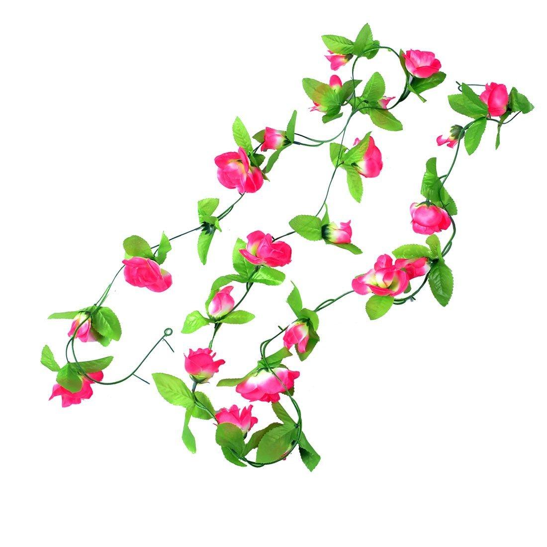 2x 2 5m gruene blaetter fuchsia rosen kuenstliche haengende blumen reben et ebay. Black Bedroom Furniture Sets. Home Design Ideas