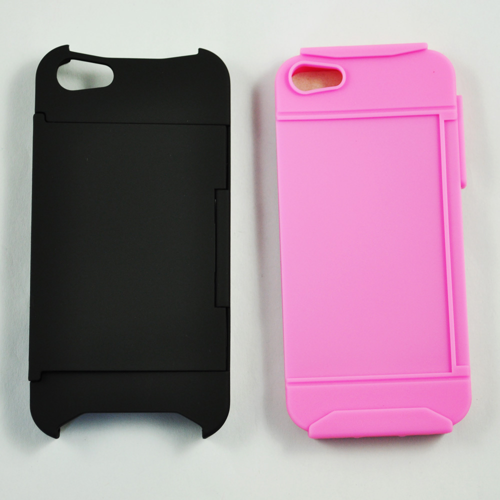 Id business credit card holder stand case back cover for for Iphone business card holder