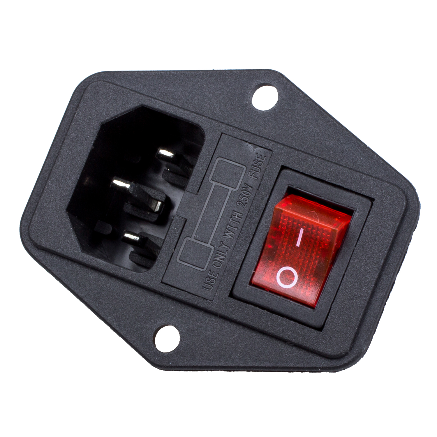 3 pin iec320 c14 inlet module plug fuse switch male power