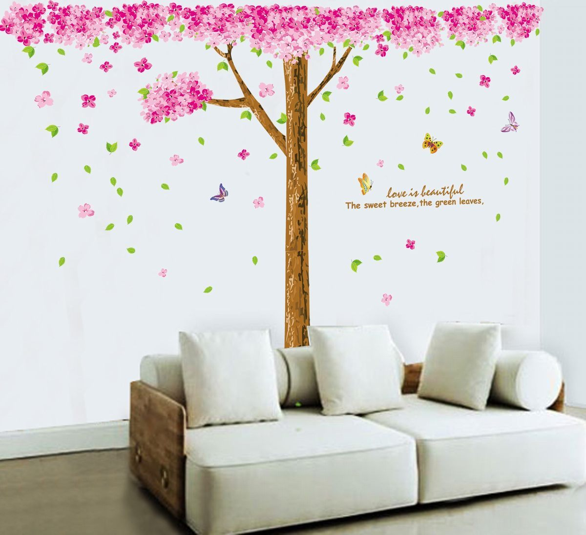 Huge pink cherry flower tree vinyl removable wall decor for Cherry tree wall mural