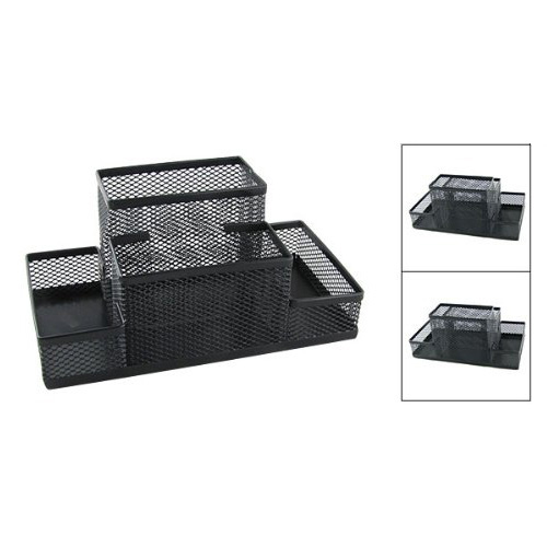 W6 amico black mesh style pen pencil ruler holder desk - Black mesh desk organizer ...
