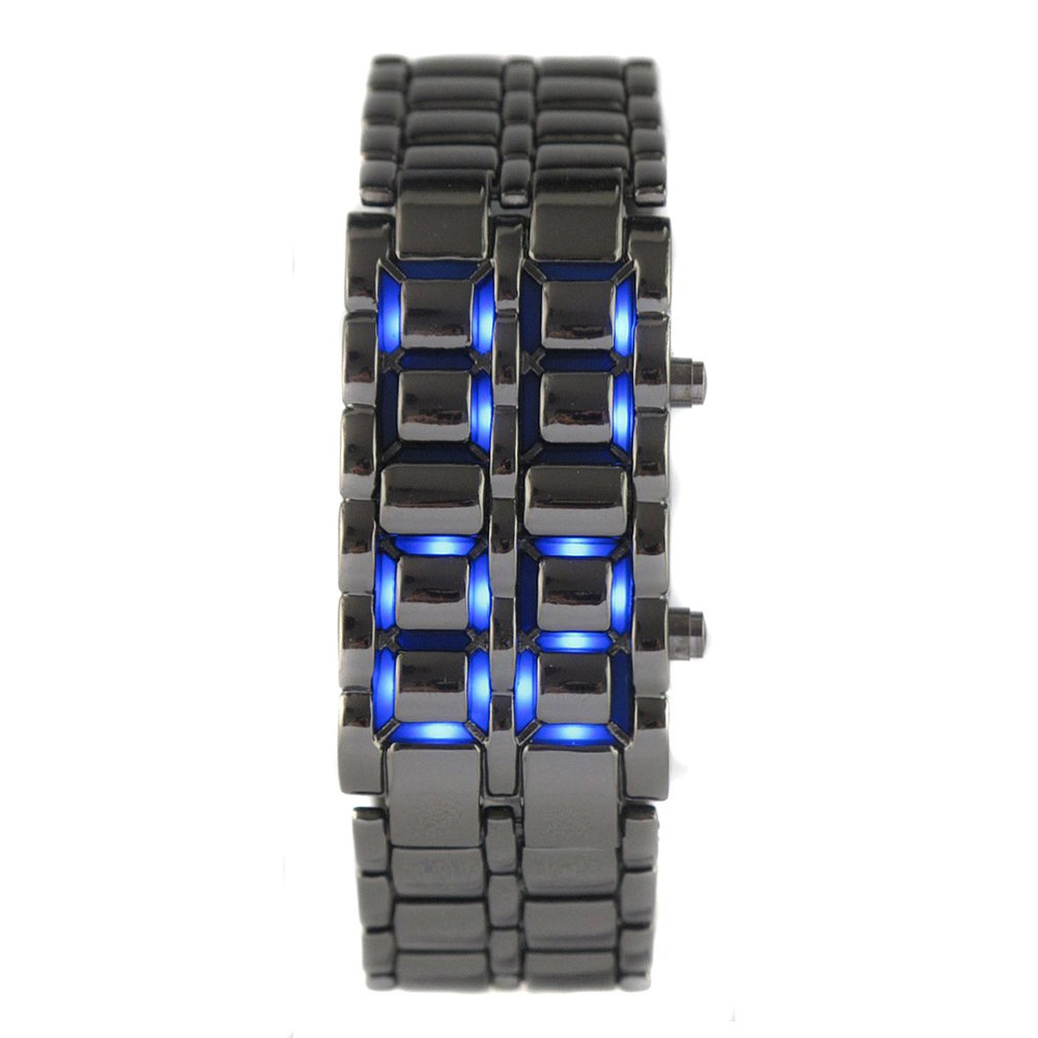 T3Y6 5X New Practical Lava Style Iron Samurai Black Bracelet blue LED Watch with