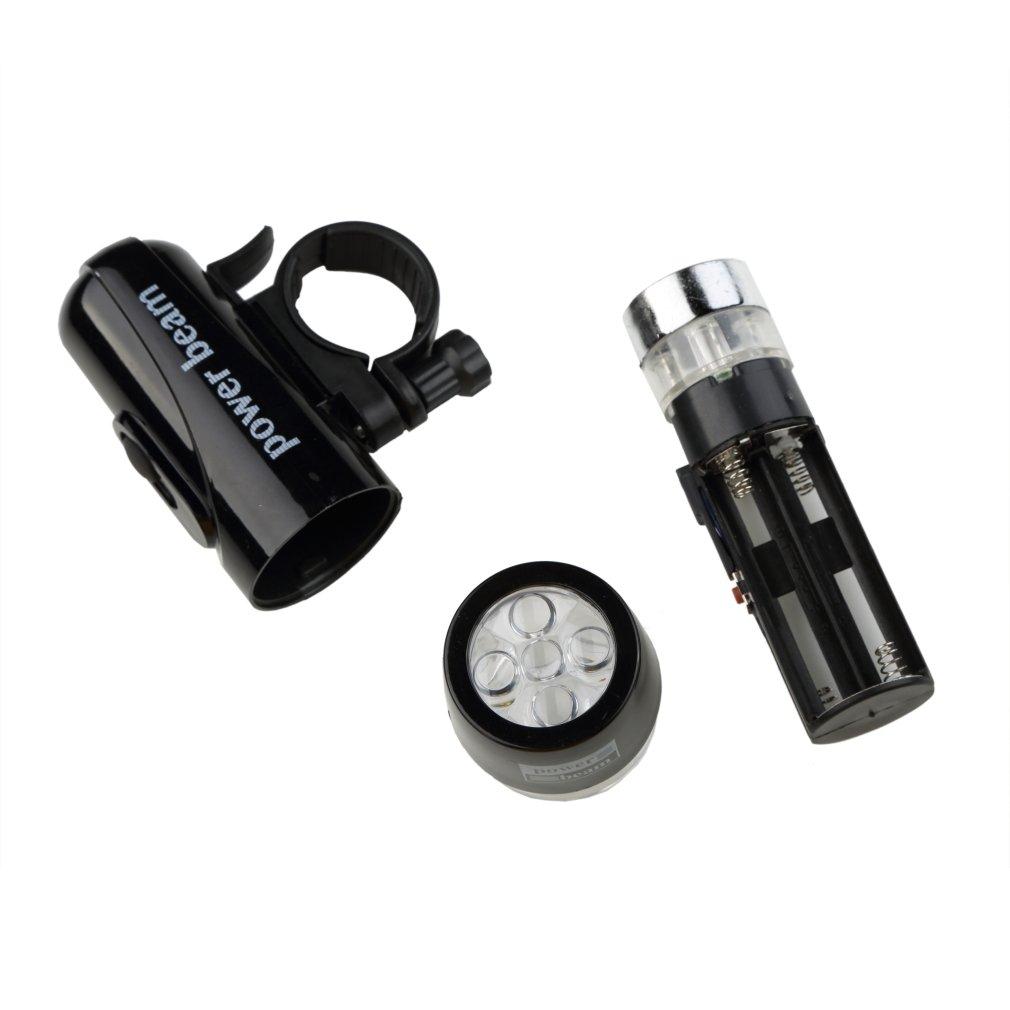 Waterproof 5 LED Lamp Bike Bicycle Front Head Light+Rear Safety Flashlight Set