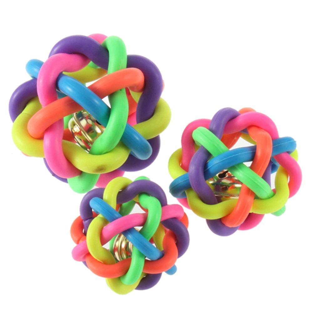 Jouet pour les animaux Balle coloré en caoutchouc avec sonore de cloche WT 2