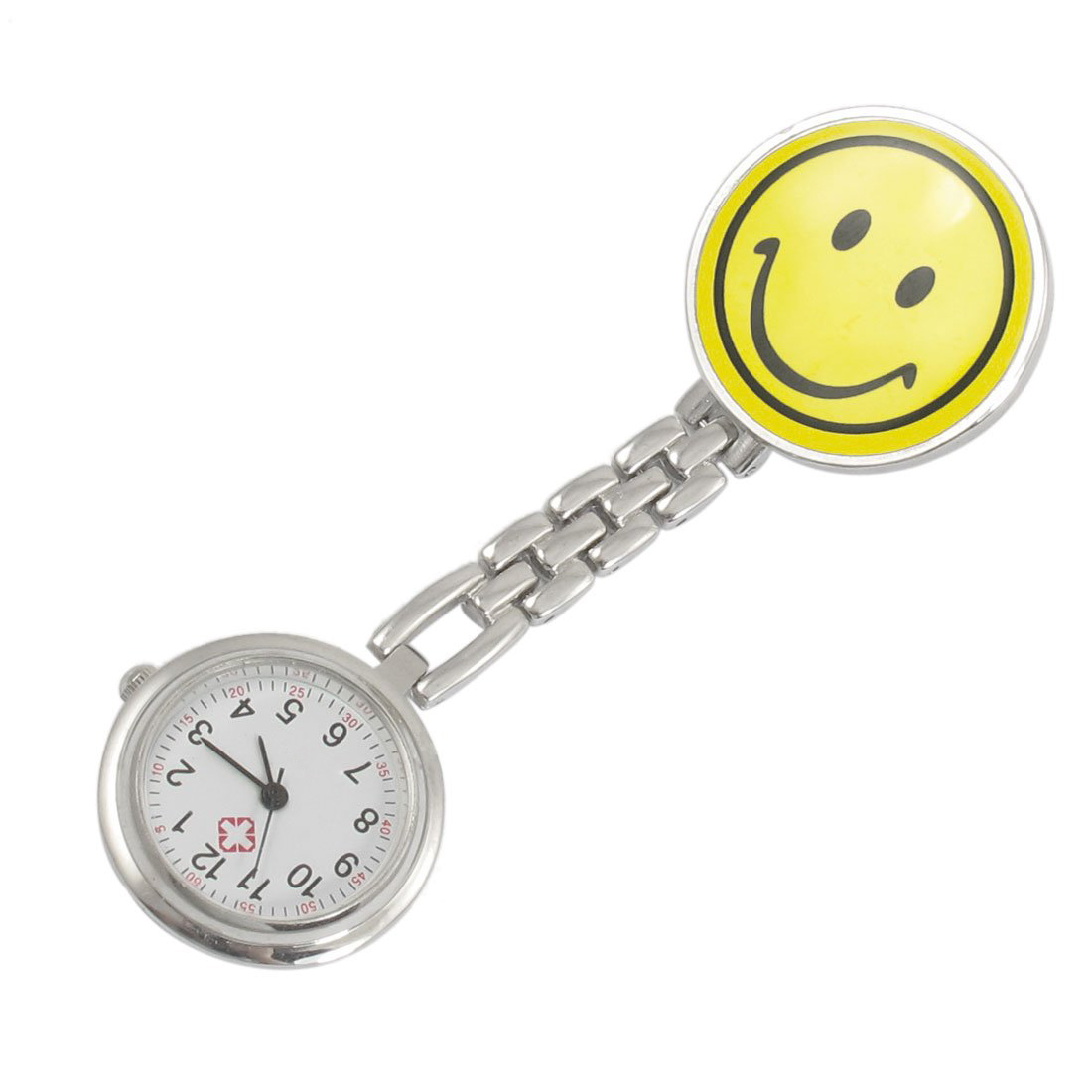 Z2G3 10X New Yellow Smiling Face Design Brooch Arabic Numerals Nurse Watch For W