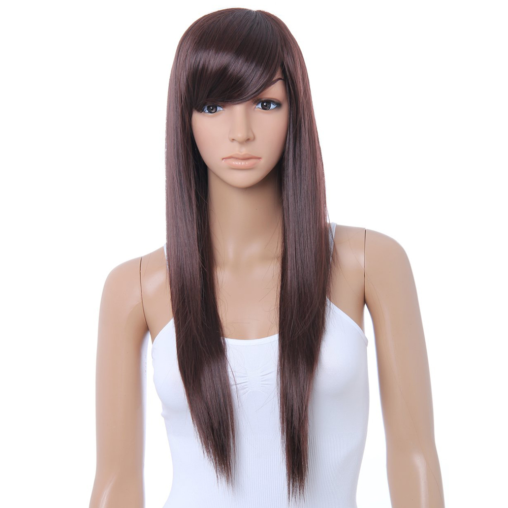 New Practical Cute Brown Long Straight Wig Kanekalon DARK ...