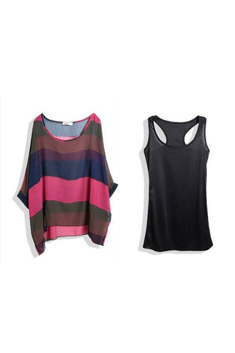 Fashion block boat neck sheer loose blouse top tank top set ebay