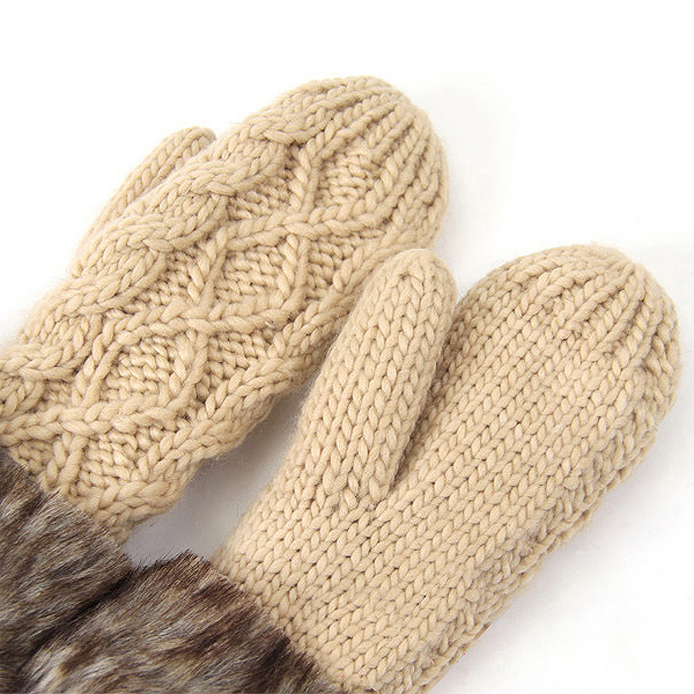 Lined Mittens Knitting Pattern : Ladies Wool Winter Snow Mittens Knitted Fleece Lined Fur Gloves-Beige WS