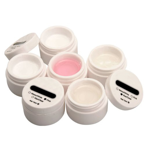 6x uv gel aufbau gele set nailart f french nagel 15ml klar rosa weiss de ebay. Black Bedroom Furniture Sets. Home Design Ideas
