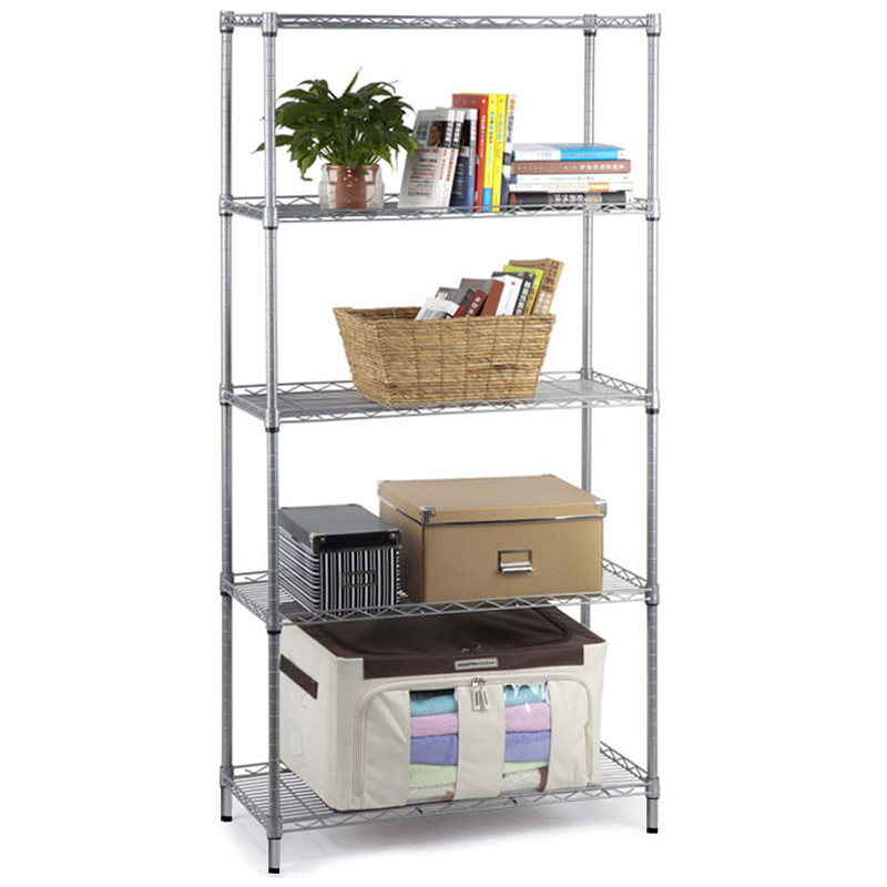 5 tier stainless steel chrome kitchen storage shelves new by. Black Bedroom Furniture Sets. Home Design Ideas