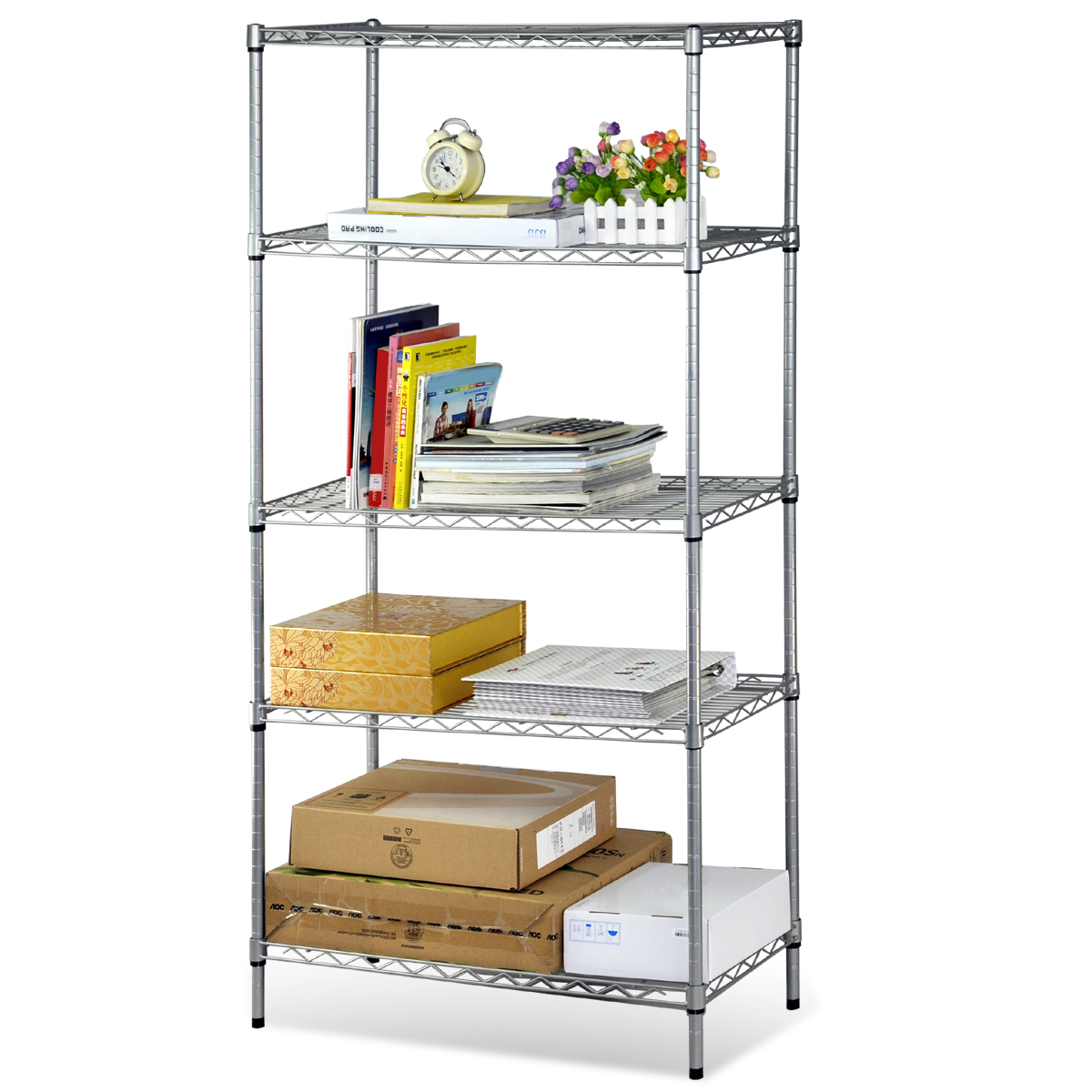 5 tier stainless steel chrome kitchen storage shelves new. Black Bedroom Furniture Sets. Home Design Ideas