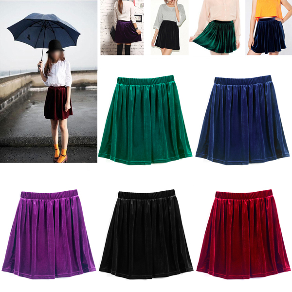High-Waisted-Velvet-Skater-Pleated-A-line-Short-Elasticized-Soft-Skirt-K6W2