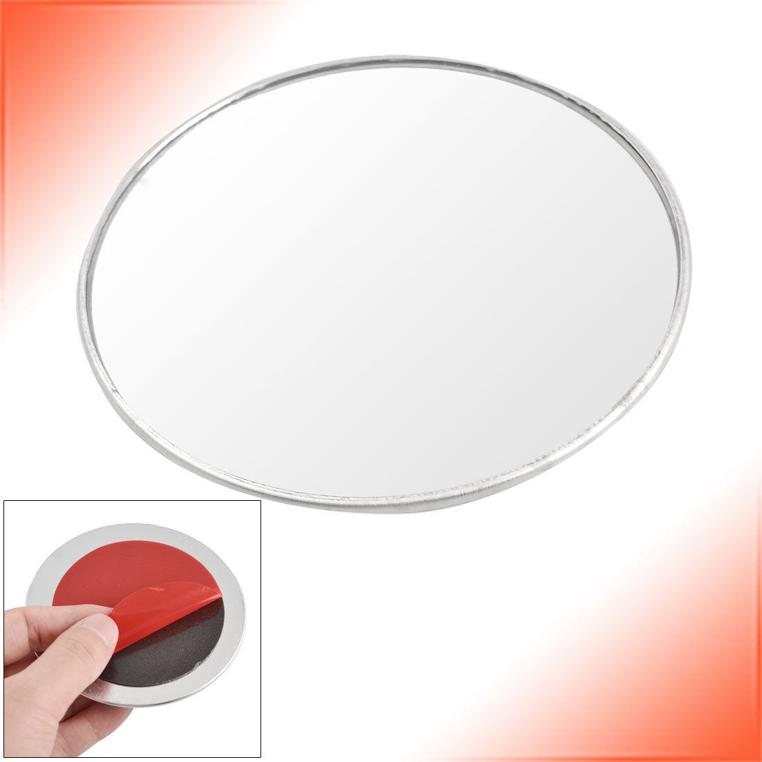 silver tone 3 round convex rear view blind spot mirror. Black Bedroom Furniture Sets. Home Design Ideas
