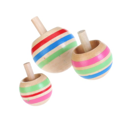 Toy Spinning Top : Pcs wooden colorful spinning top kids toy sizes for