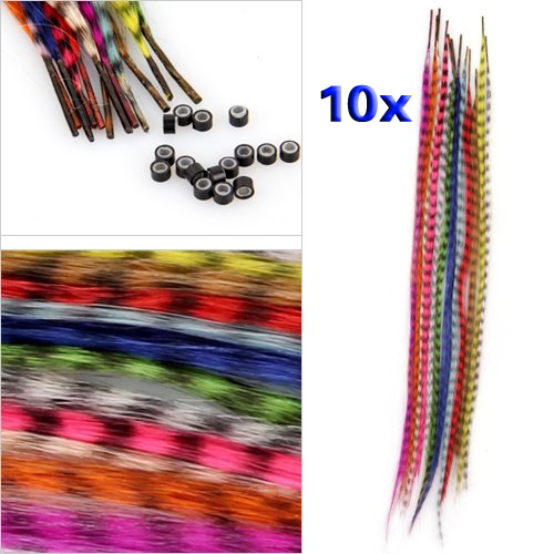 ensemble 10 couleurs plume synthetique grisatre extensions de cheveux wt ebay. Black Bedroom Furniture Sets. Home Design Ideas