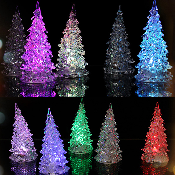 Led que cambia de color artificial de cristal decoracion - Arbol de navidad led ...