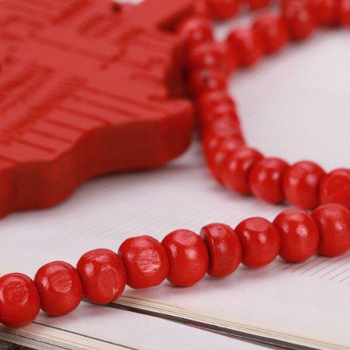 5x afrique carte forme pendant collier avec des perles en bois rouge y3 ebay. Black Bedroom Furniture Sets. Home Design Ideas