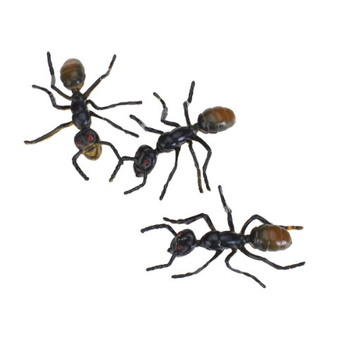 3pcs black plastic fake ant joke trick toy halloween party