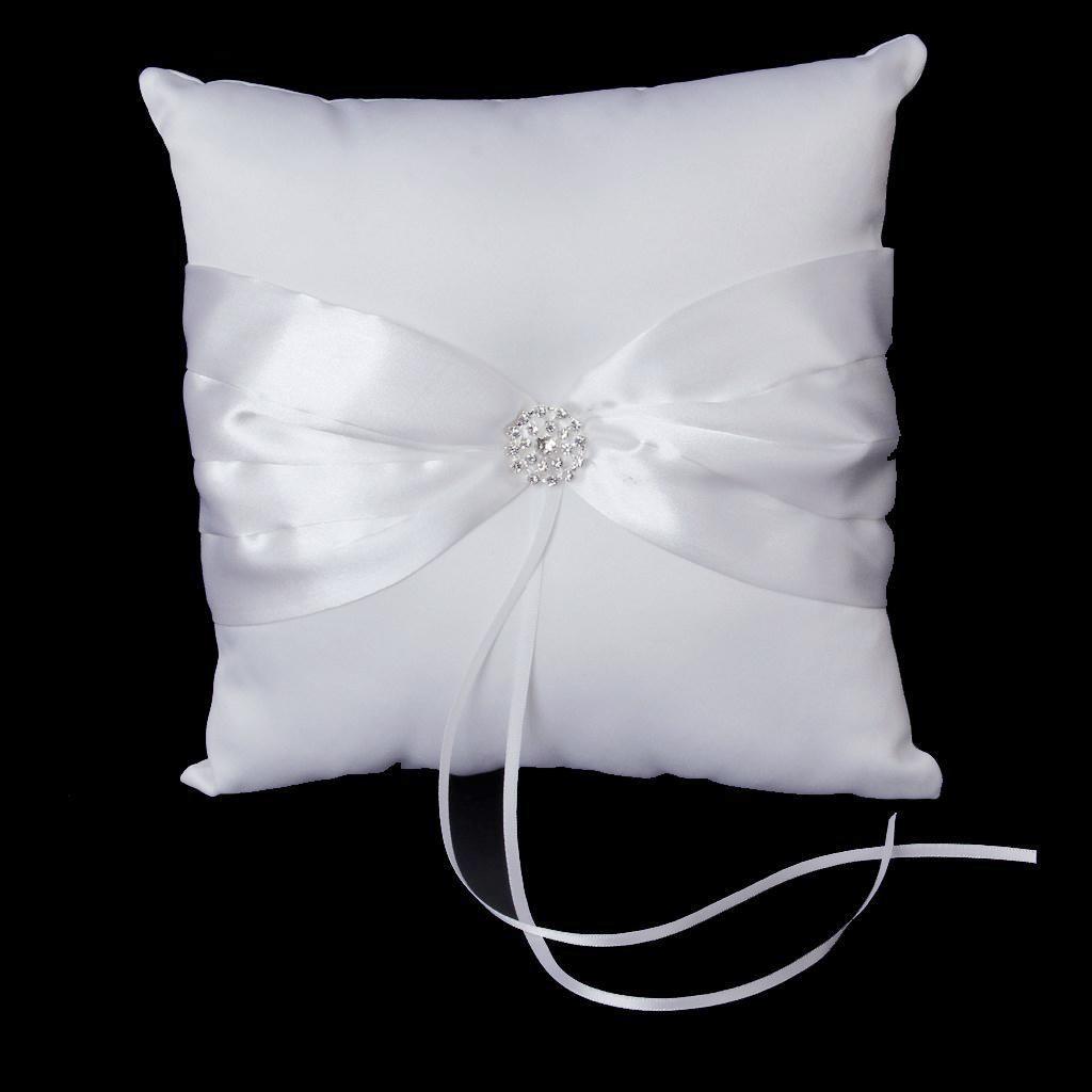 oreiller porteur de l 39 anneau de mariage elegant avec bowknot blanc wt ebay. Black Bedroom Furniture Sets. Home Design Ideas