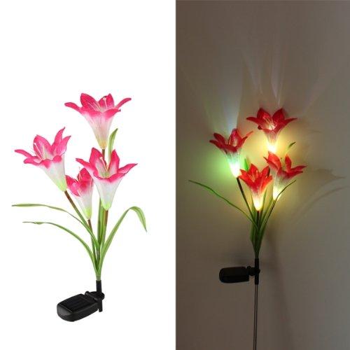 solarlampe 4 led bodenbeleuchtung gartenlampe rote lilien. Black Bedroom Furniture Sets. Home Design Ideas