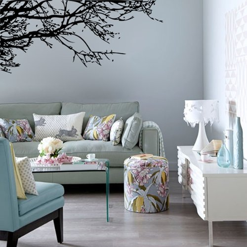 Black tree branch pvc removable room art mural wall for Black tree mural