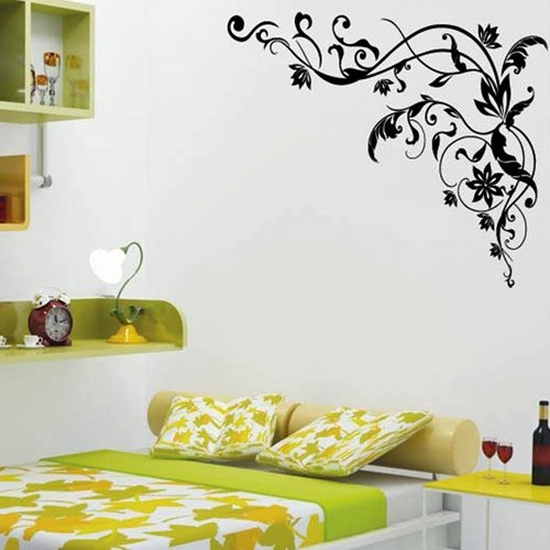 809h3 wandtattoo wandaufkleber schwarz kletterpflanze blumen pvc kinderzimmer ebay. Black Bedroom Furniture Sets. Home Design Ideas