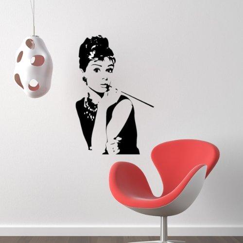 wandtattoo wandaufkleber wandsticker wanddeko audrey hepburn wohnzimmer pvc et ebay. Black Bedroom Furniture Sets. Home Design Ideas