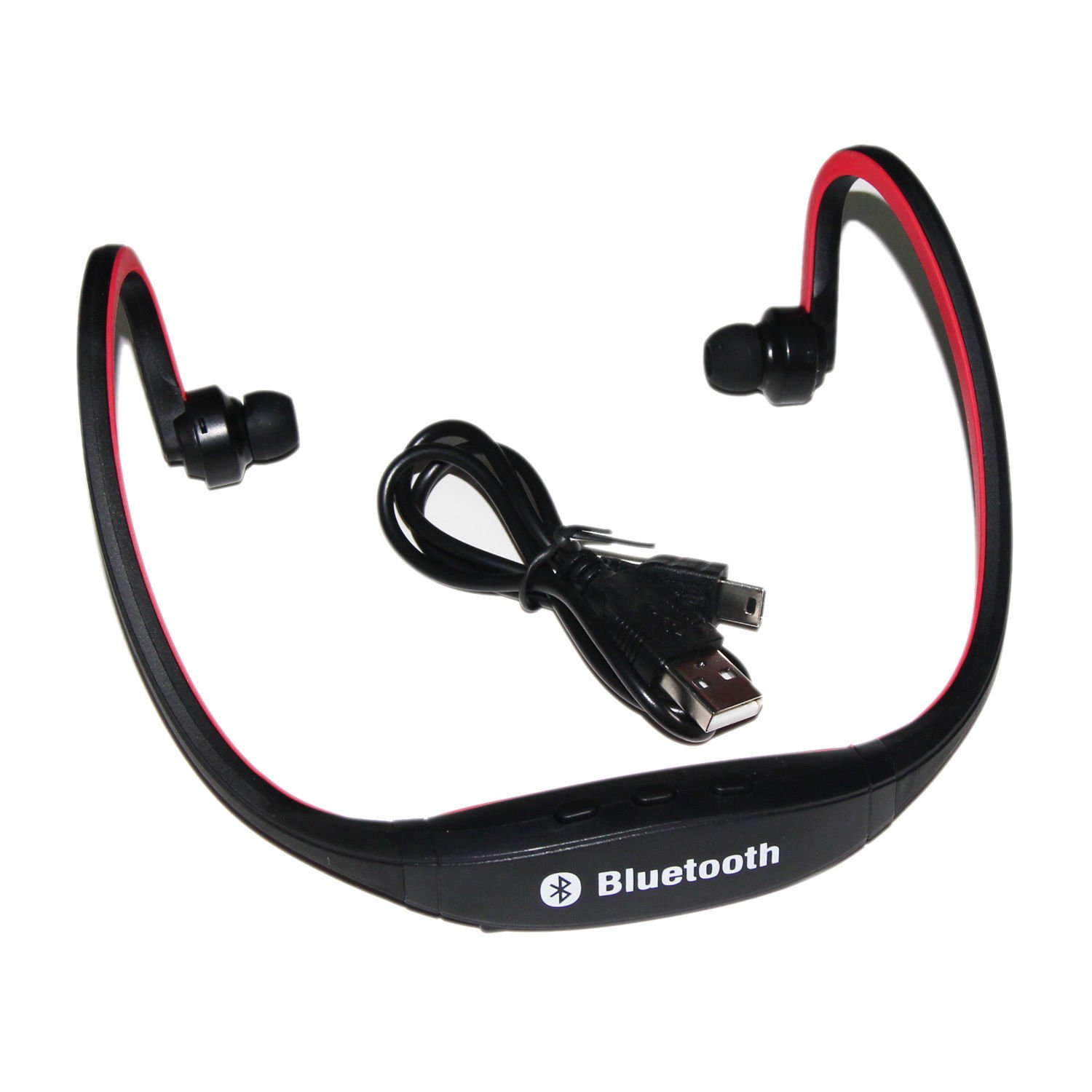 SS Wireless Bluetooth Headset FOR Cell Phone Iphone Laptop RED Black