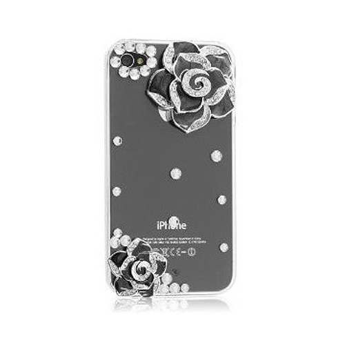 3D Bling Crystal Rhinestone Flower Transparent Case Cover for Iphone 4 4s Black