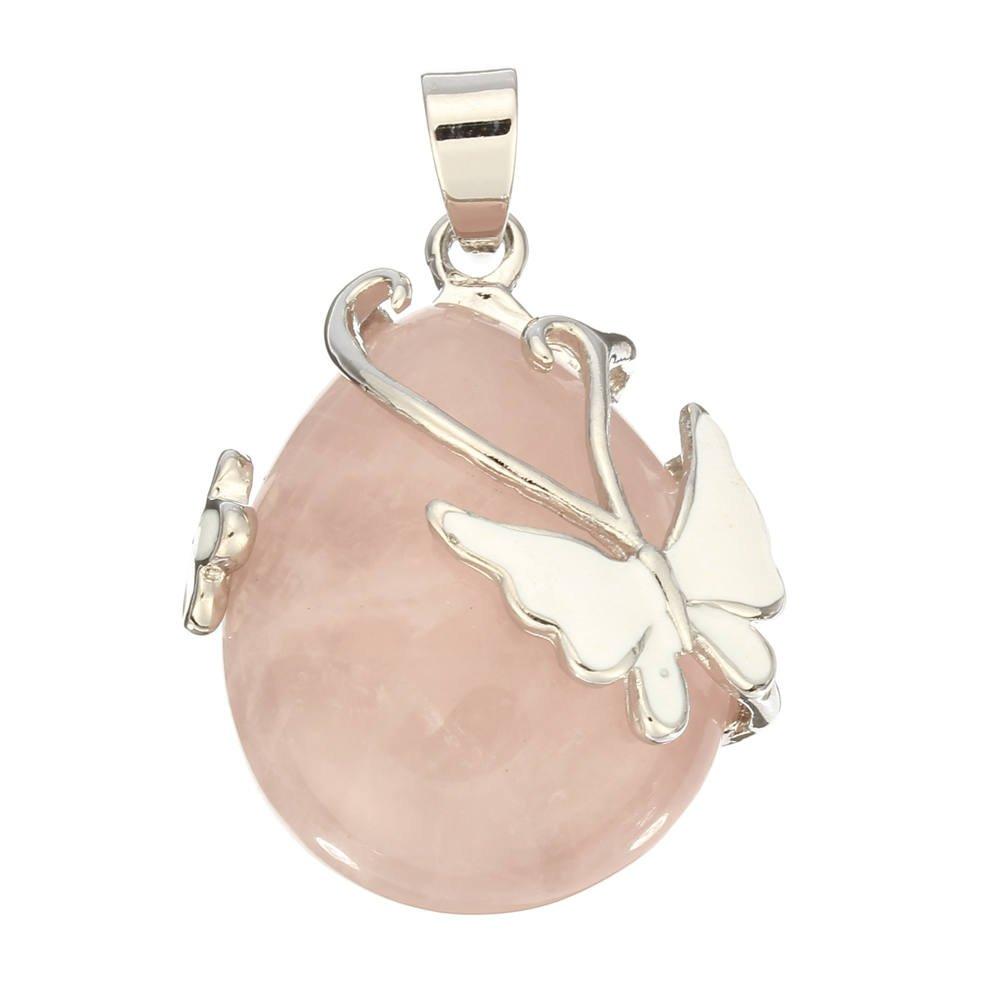 goutte d 39 eau rose quartz pierre precieuse pendentif perle papillon rose wt ebay. Black Bedroom Furniture Sets. Home Design Ideas