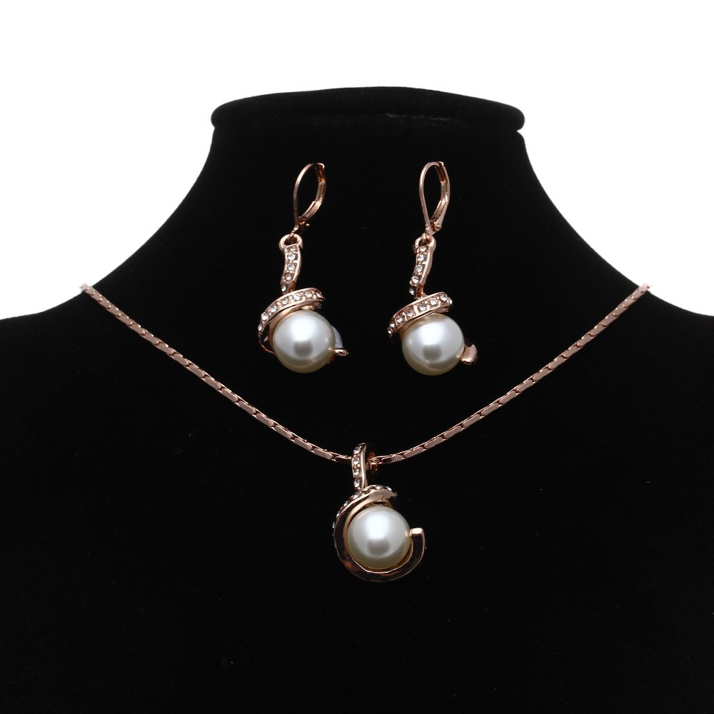Wedding jewelry sets bridal pearl earrings necklace 18k for Bridesmaid jewelry sets under 20