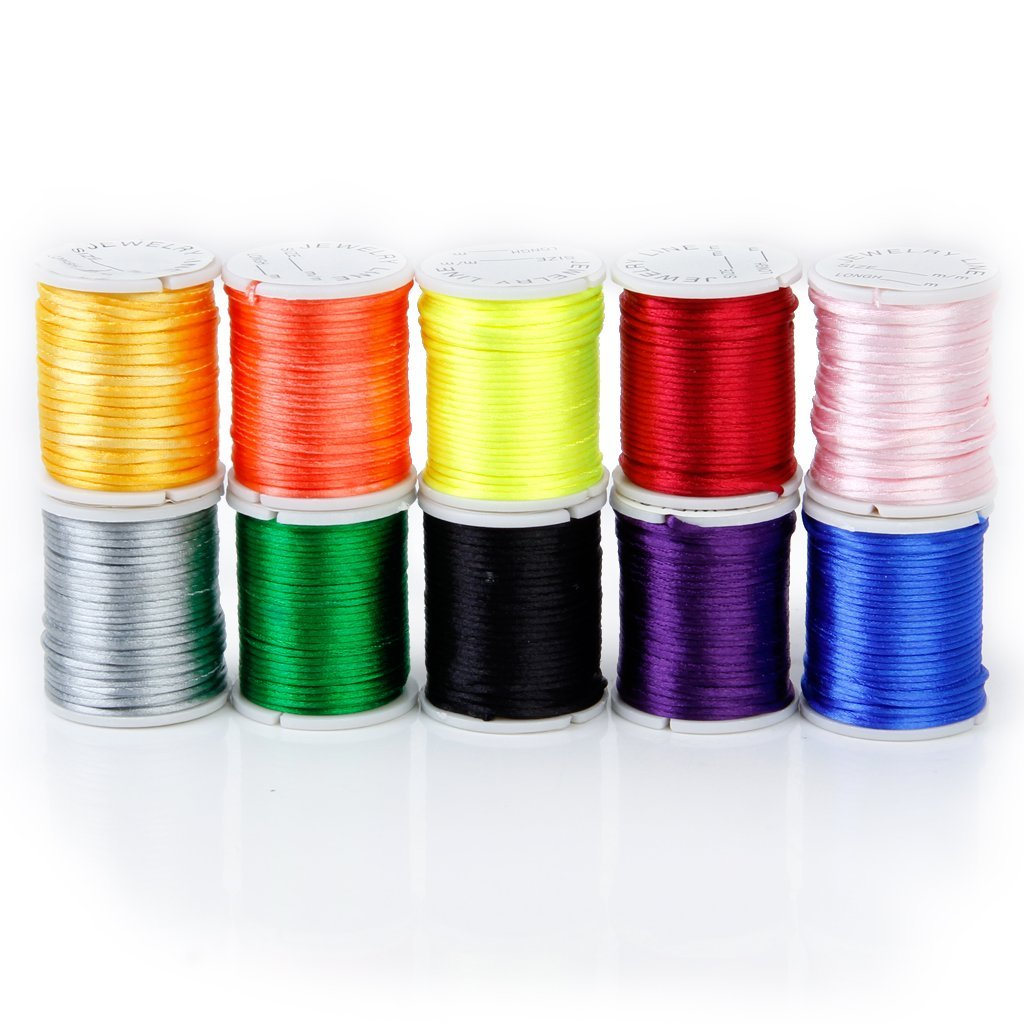 10 Rolls mixed cord in Nylon of colour beads chain of thread for craft 1 mm F6