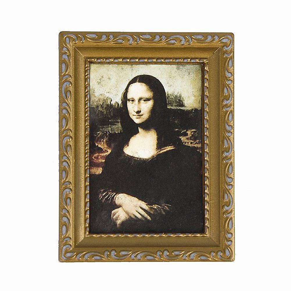 golden gerahmtes bild von mona lisa 1 12 puppenhaus 3 2 x 2 4 gy ebay. Black Bedroom Furniture Sets. Home Design Ideas