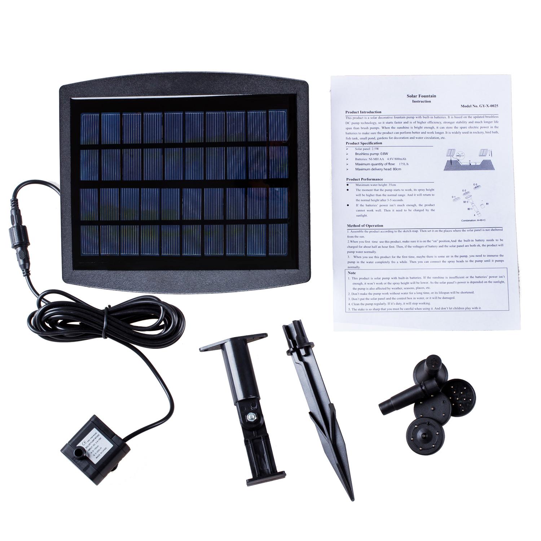 Pompa acqua pannello solare 175l h piscina acquario hk for Pompa x acquario