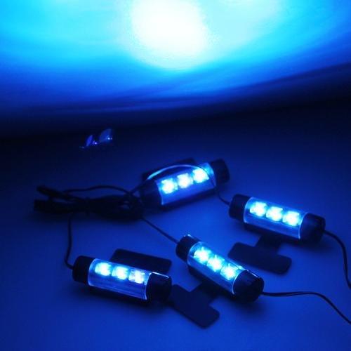 4 x 3 led neon eclairage lampe lumiere bleu dc 12v pour decoration voiture fa ebay. Black Bedroom Furniture Sets. Home Design Ideas