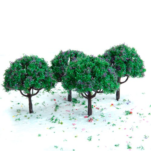 3x 2 7 zoll gruener zug gesetzt landschaft landschaftsmodell baum mit lila blume ebay. Black Bedroom Furniture Sets. Home Design Ideas