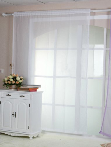 Rideau voilage blanc 140x260cm decoration fenetre maison for Decoration fenetre voilage
