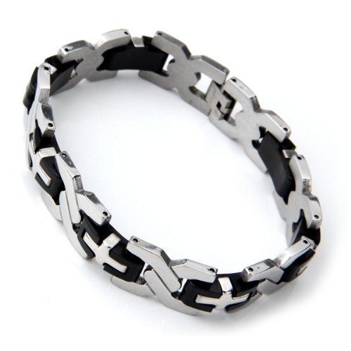 silber kreuz 15 mm schwarzes silikon titan stahlarmband de. Black Bedroom Furniture Sets. Home Design Ideas