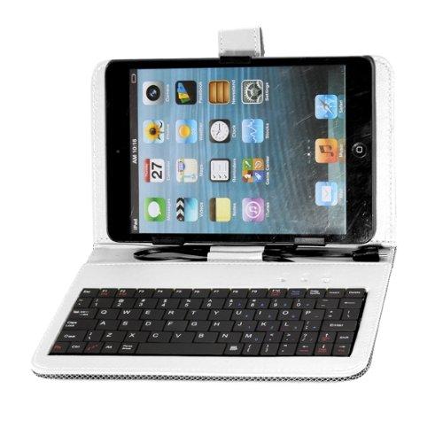 7 leder tablet halterung mit micro usb schnittstelle tastatur weiss gy ebay. Black Bedroom Furniture Sets. Home Design Ideas