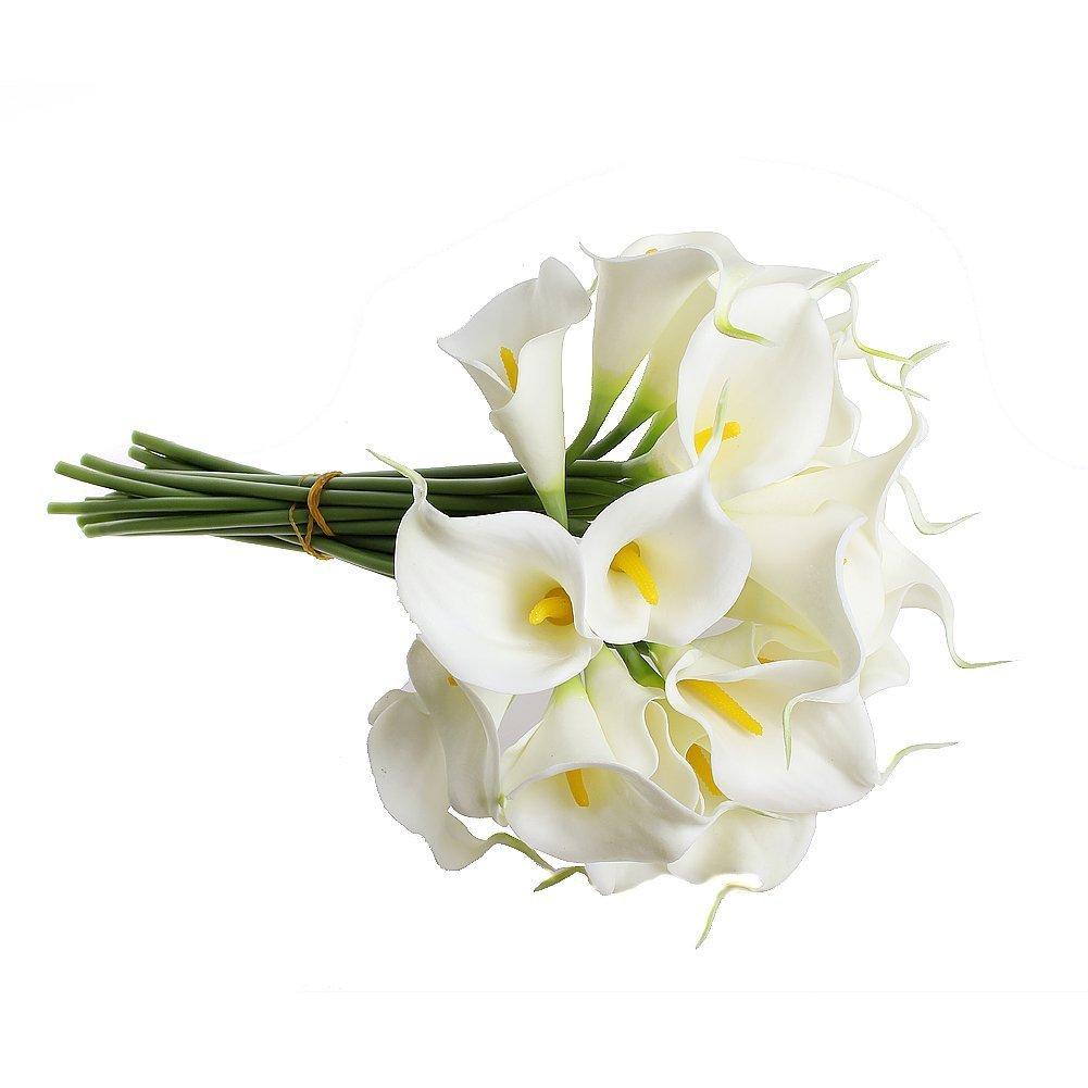 Wedding Bouquets Lotus Flower : Calla lily bridal wedding bouquet head latex kc white
