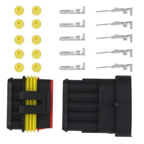 Set 5 Polig Stecker Steckverbinder Wasserdicht Fuer Auto Kfz Boot Q9H3
