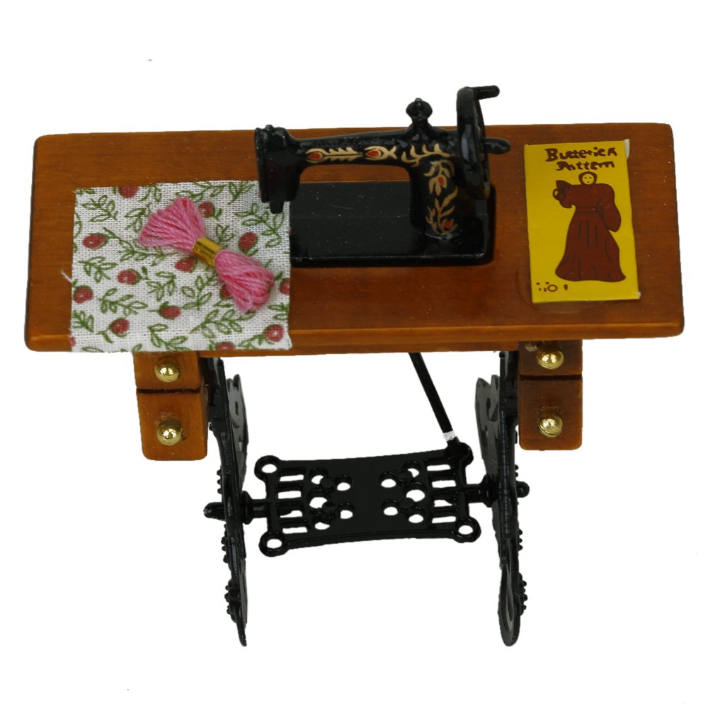 miniature sewing machine with cloth for 1 12 scale. Black Bedroom Furniture Sets. Home Design Ideas
