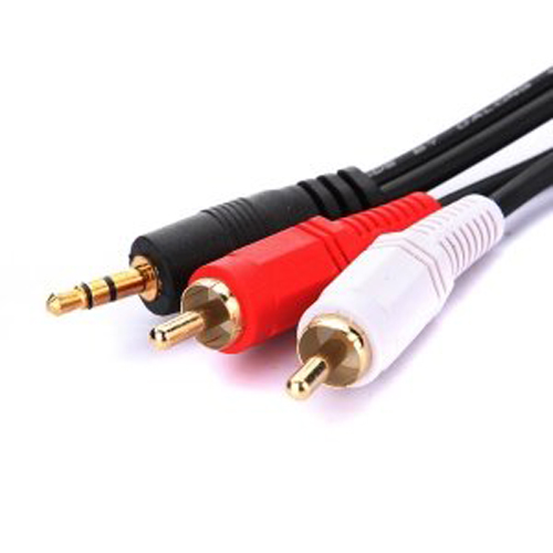 3m 3 5 mm stecker auf 2 x cinch twin audio stereo lautsprecher kabel gy. Black Bedroom Furniture Sets. Home Design Ideas