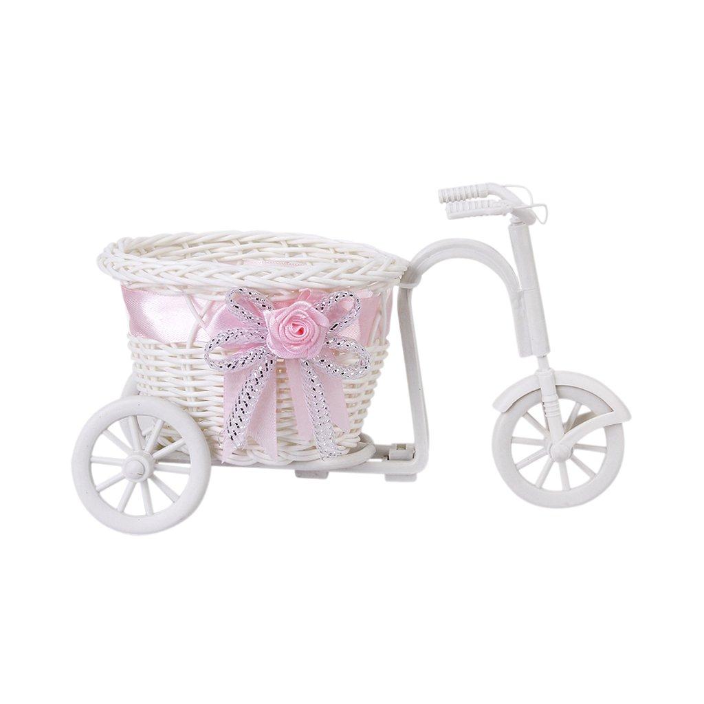 handgefertigte rattan blumen dreirad fahrrad korb fuer blumen vase gy ebay. Black Bedroom Furniture Sets. Home Design Ideas