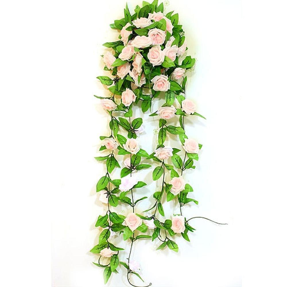 Artificial Light Pink Rose Leaf Vines Garland Plants Home