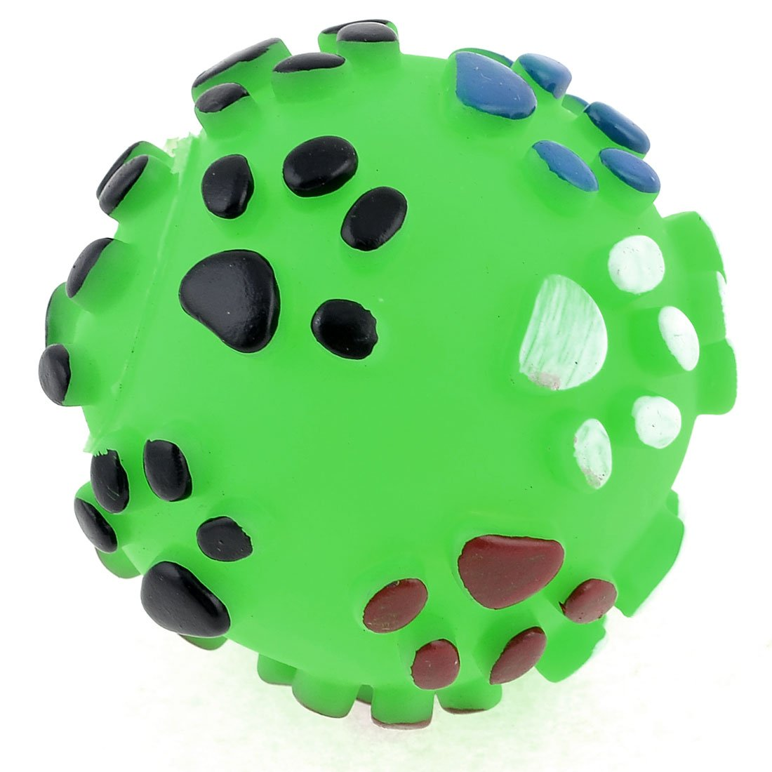 Green Rubber Paw Pattern Round Ball Squeaky Toy For Pet