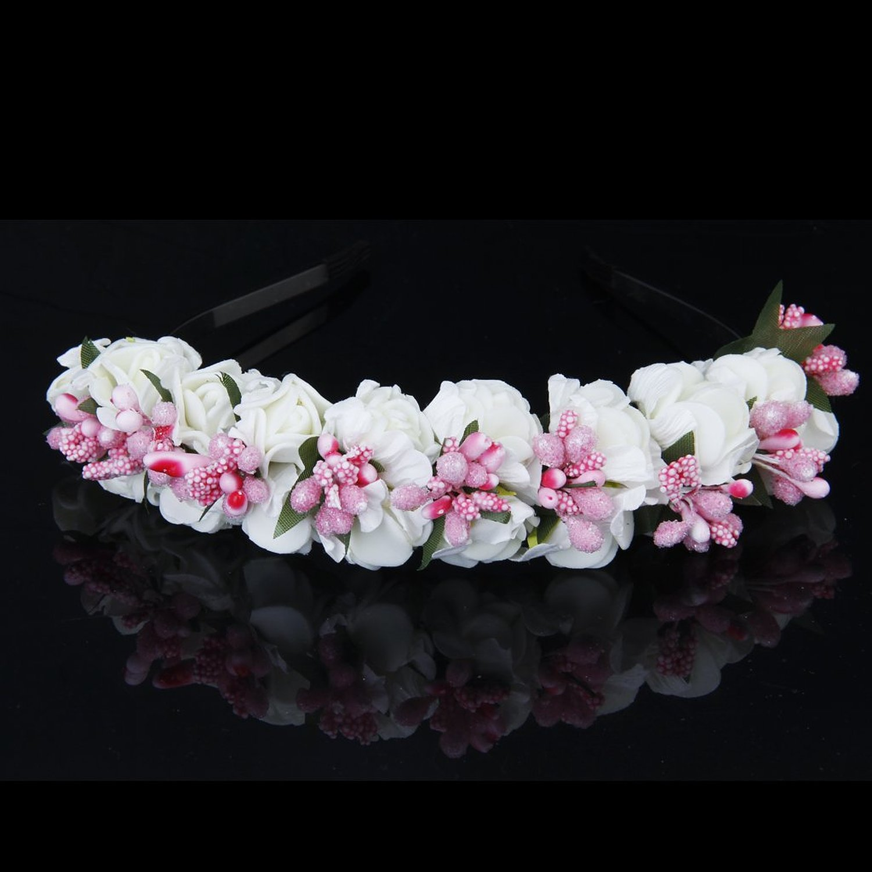 Flower Garland: Flower Garland Flowers Bride Wedding Headband Hair Band BT